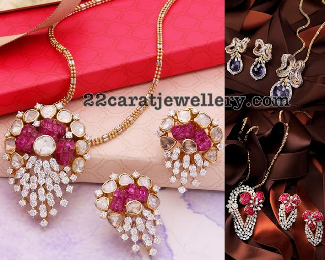 22 Carats Of Gold Designer Diamond Ruby Pendant Sets
