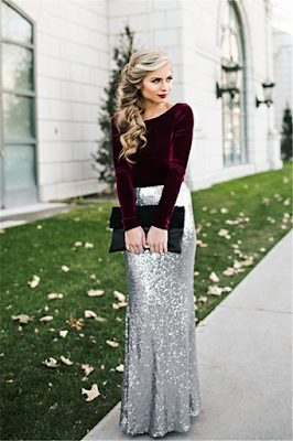 Sleeves Sequins Sheath Burgundy Latest Long Winter Silver Velvet Evening Dresses
