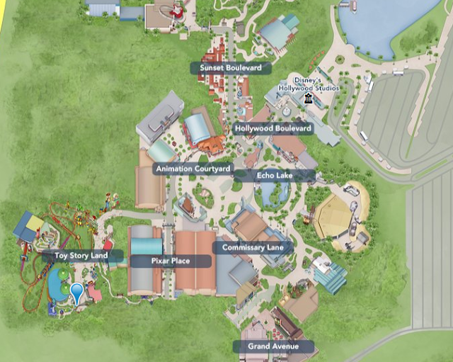 Toy Story Land no mapa do Hollywood Studios