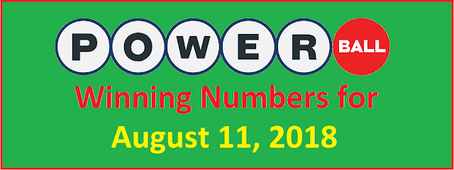 PowerBall Winning Numbers for Saturday, 11 August 2018
