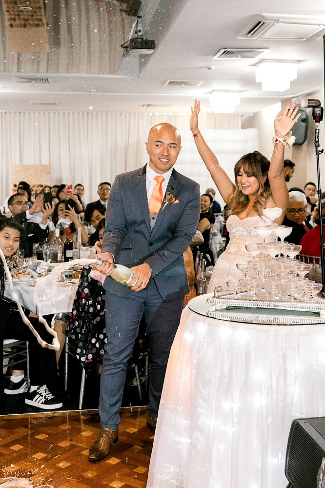 Silver Pearl Restaurant Wedding Reception Champagne Tower