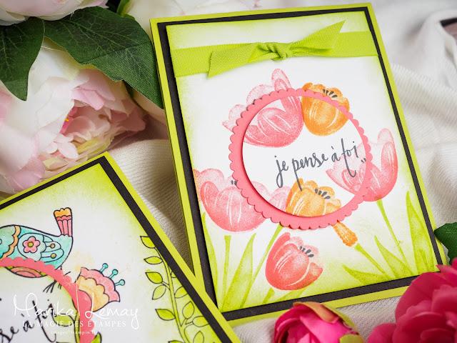 Cartes Stampin' Up! créées avec les jeux d'étampes Feathery Friends et Tranquil Tulips