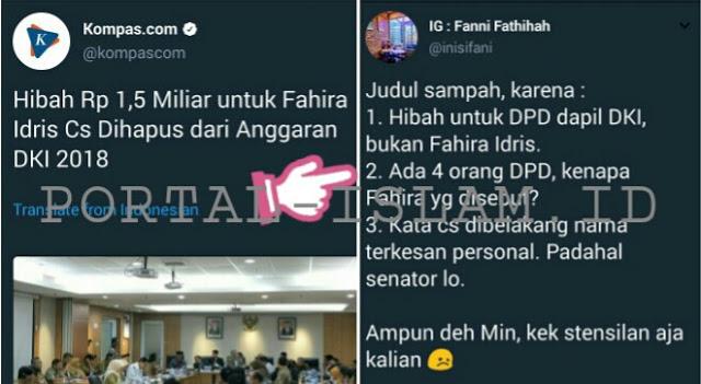 "Parah! Fahira Idris Jadi Korban ""Judul Sampah"" Kompas, Netizen: Ampun Deh.."