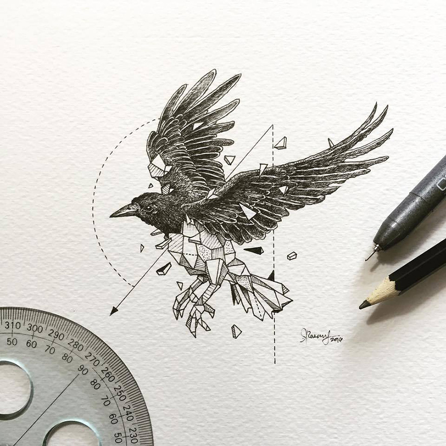 11-Raven-Kerby-Rosanes-Geometry-Coupled-with-Detailed-Drawings-of-Animals-www-designstack-co