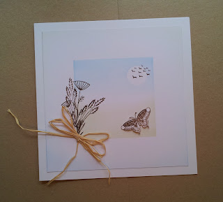 Grasses and butterfly card with raffia bow