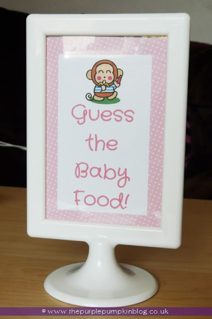 Guess The Baby Food Game for a Baby Shower at The Purple Pumpkin Blog