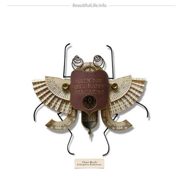Insecto hecho con cosas recicladas