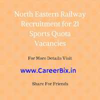 North Eastern Railway Recruitment for 21 Sports Quota Vacancies