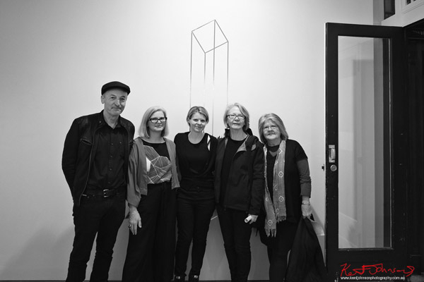 PJ Hickman, Annelies Jahn, Suzie Idiens (curator), Susan Andrews, Lynne Eastaway. LINE AND SPACE: Crawford gallery. Photo by Kent Johnson.