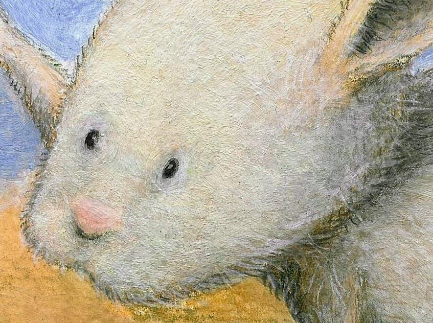 Kinderbuchillustration, Häschen, Acryl, Technik, Mixed Media, Kommoß