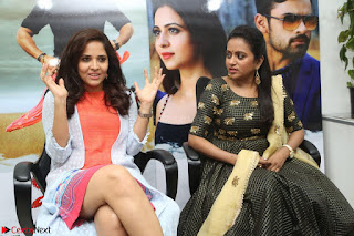 Actress Suma in Black Salwar Suit and Anusuya in orange Dress at winner movie press meet part 2 February 2017 (9).JPG