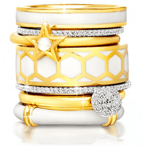 Astley Clarke Stacking Rings with White Enamel Pave Diamonds Jewellery Curated