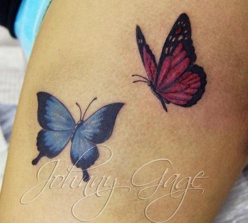 Cor-de-rosa e Azul Pequenas Tatuagens de Borboleta