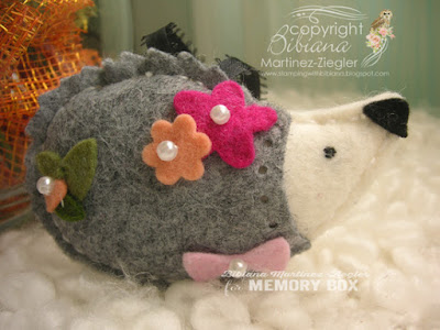 felt hedgehog in grey