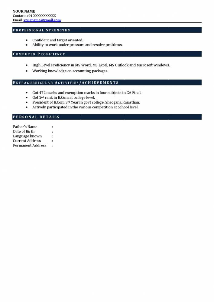 Best Experienced CA Resume Sample Charted Accounts Resume