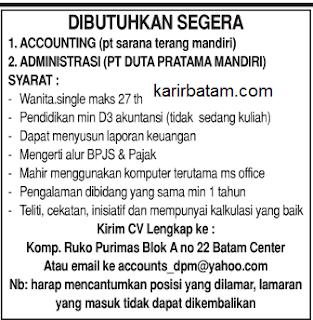 Lowongan Accounting dan Admin Lulusan D3
