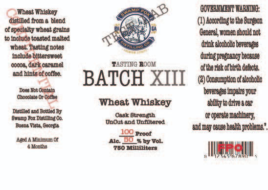Swamp Fox Distilling Batch XIII Wheat Whiskey