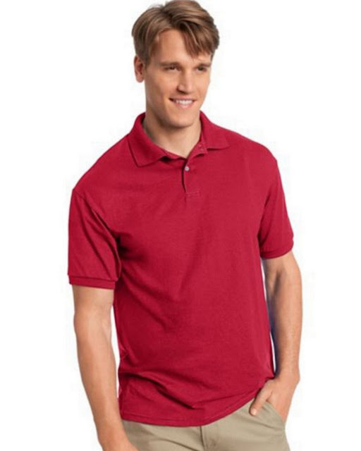 Hanes 054X Mens Comfortblend Jersey Polo - Deep Red – XL