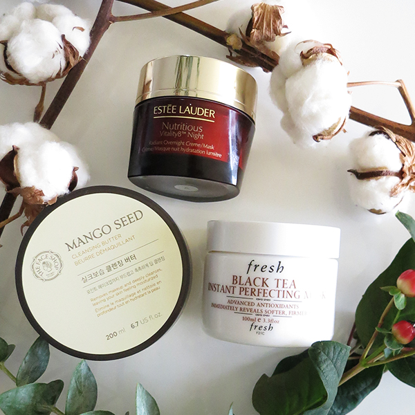 Hydrating skincare finds perfect for winter featuring: Estee Lauder Estee Lauder Vitality8 Night Radiant Overnight Creme/Mask, The Face Shop Mango Seed Cleansing Butter, Fresh Black Tea Instant Perfecting Mask
