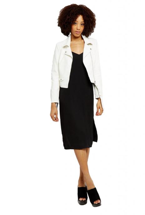 Jacheta dama de primavara alba din piele ecologica cu revere indoite