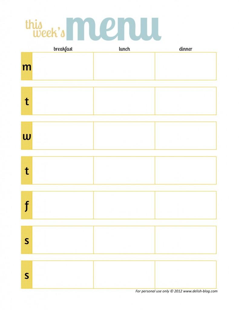 printable menu planner pdf