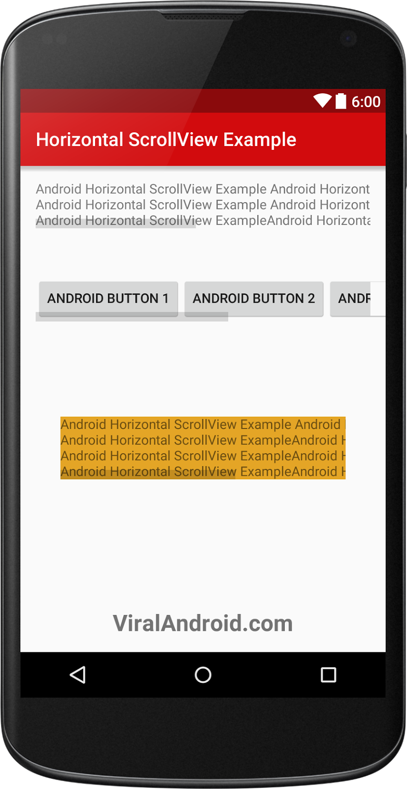 Android HorizontalScrollView Example