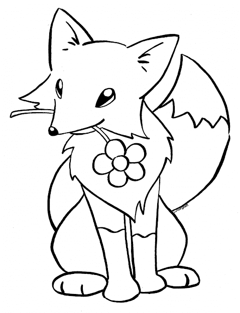 Easy Fox Coloring Pages For Kids  Coloringsuite