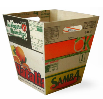 wastebasket made from recycled fruit boxes