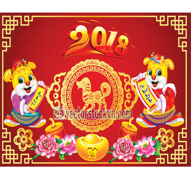 Happy Chinese new year card is Gold twin dog and lanterns Hang on branches vector design