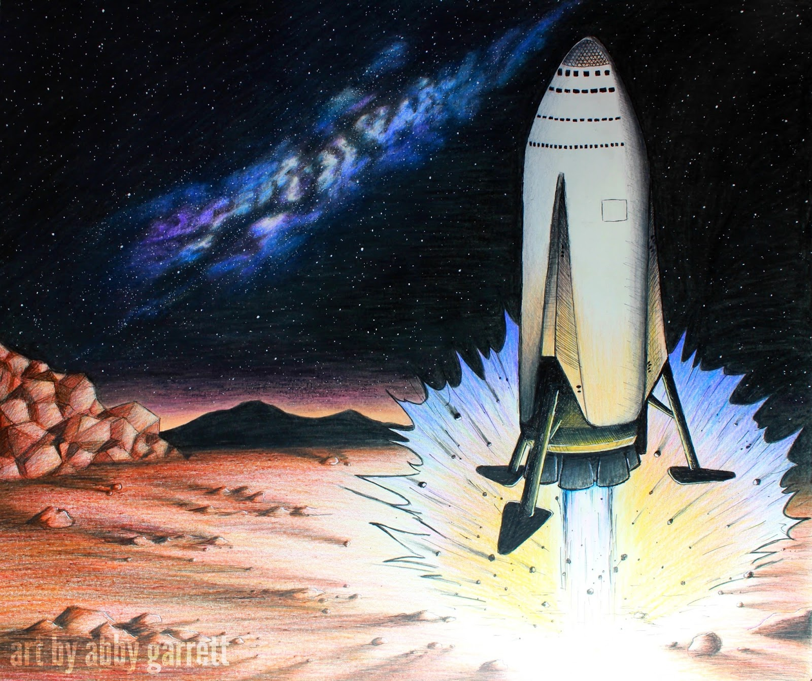 Drawing of SpaceX ITS spaceship landing on Mars by Abby Garrett