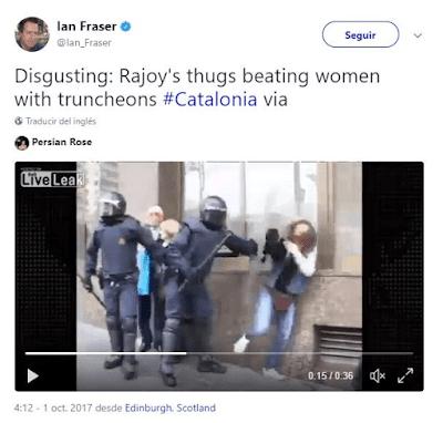 El periodista Ian Fraser usó un vídeo del 2013 de un Mosso d'Esquadra agredió a una joven en Tarragona en 2012 en las protestas estudiantiles.