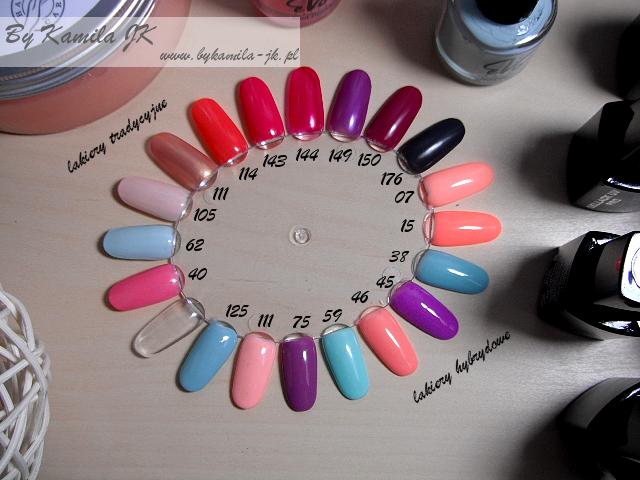 Evo Nails lakiery tradycyjne hybrydowe gdzie kupić manicure hybrydowy hybrydy swatche wzornik kolory