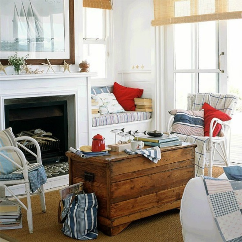Coastal nautical living room