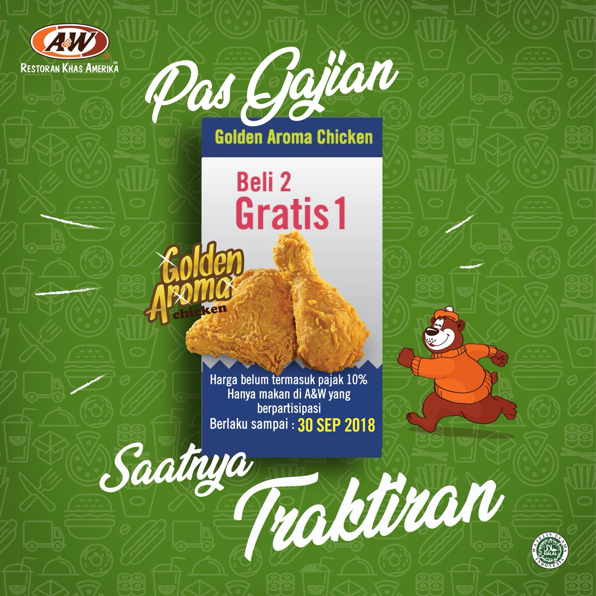A&W - Promo Pas Gajian Beli 2 Gratis 1 (s.d 30 Sept 2018)