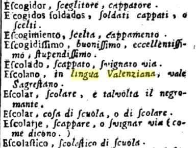 Escolado , in lingua Valenziana, vale sagrestano, escolanet, monaguillo
