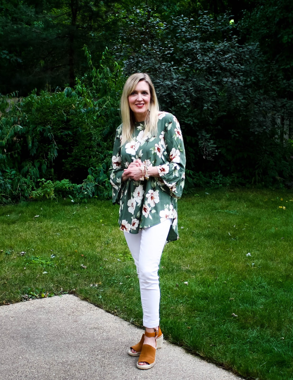 Olive Floral Tunic with Ruffle Sleeves and White Denim