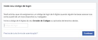 Facebook Solicitando o Token ao Logar em Um Dispositivo Desconhecido