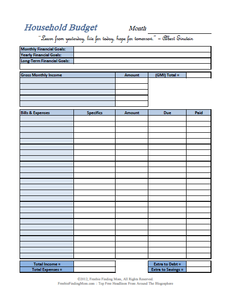 Rhiana reports top five printable budget worksheets for Budgeting sheets template