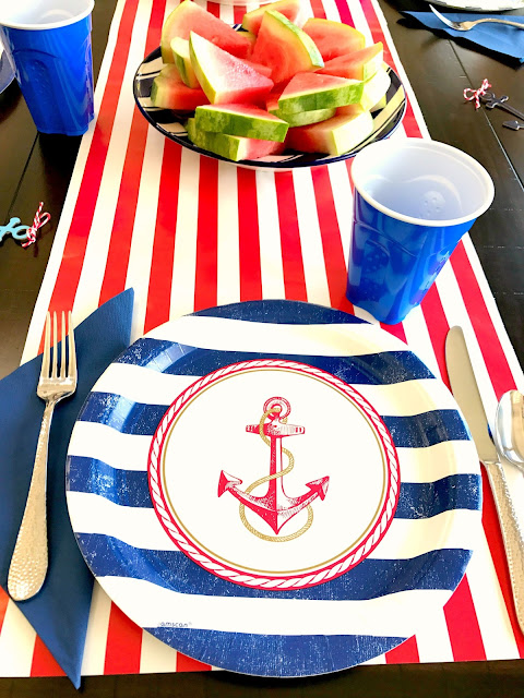 Table setting for a nautical party