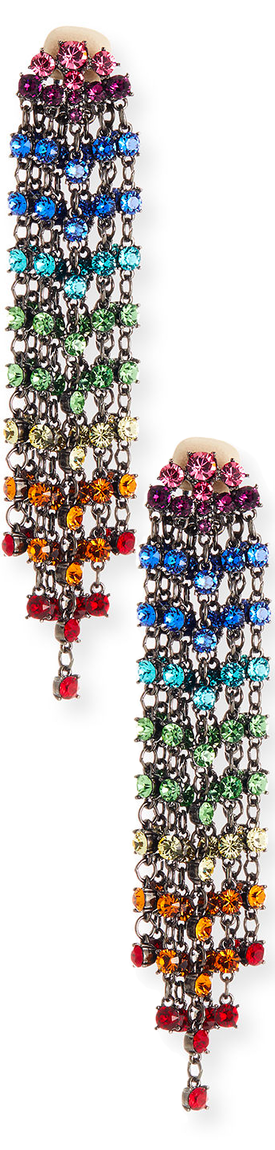 Oscar de la Renta Swarovski Crystal Cascade Waterfall Clip-On Earrings