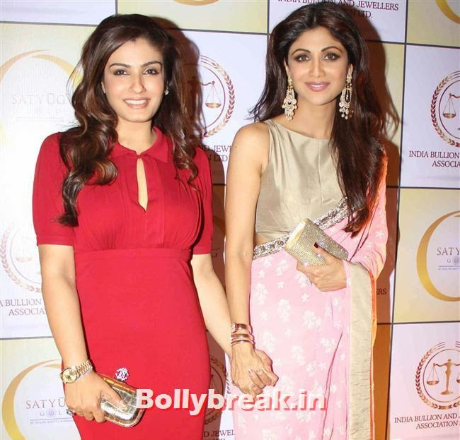 Raveena Tandon and Shilpa Shetty, Shilpa Shetty, Geeta Basra & Raveena Tandon Sizzle at Satyug Gold Launch
