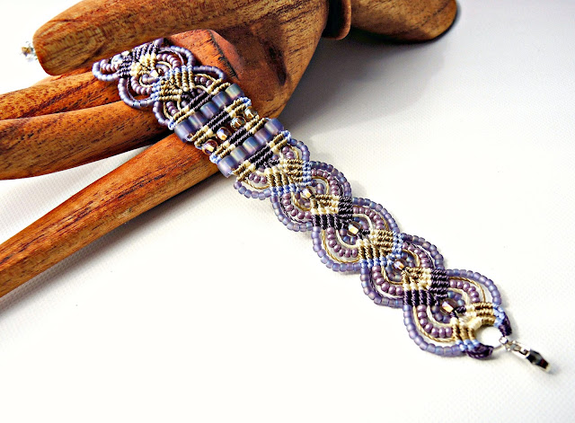 Micro macrame bracelet lilac and lavender by Sherri Stokey.