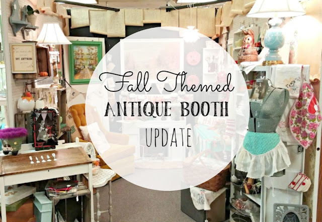 Antique booth decorated for fall