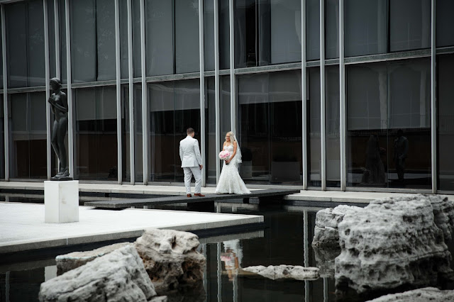 bride and groom at wayne state McGregor Memorial Conference Center
