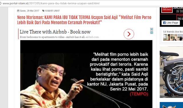 "Meluruskan Kaum Sumbu Pendek yang Tak Paham Dawuh KH Said Aqil ""Tonton porno Mendingan dari pada video provokatif"""