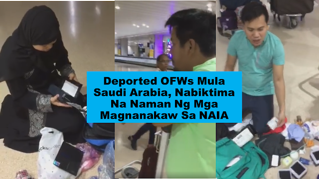 Overseas Filipino workers (OFW) who had been deported from Saudi Arabia expressed their dismay over their lost belongings at the Ninoy Aquino International Airport. The victims wanted the matter to be brought to the attention of President Rodrigo Duterte.      Ads  Sponsored Links      In a video circulating on social media, it shows OFWs with belongings scattered on the floor as they grieve the loss of their hard-earned belongings on their arrival at the NAIA.  A man was complaining about his missing watches and smartphone, which according to him, are amounting to around P60,000. It is worth all of his earnings in working abroad until he was deported and most probably all that he has to start his life in his home country.  Another OFW, a woman, cries as she was checking her bag and discovered that everything she worked for just vanished in thin air.    Pilferage at NAIA is not a new thing. There are many cases where the culprits are caught on CCTV cameras but the same incidents happen every time in spite of the Manila International Airport Authority Chief Ed Monreal's assurance that they will do anything to stop such things from happening again at the airport under his watch.  Filed under the category of Overseas Filipino workers (OFW), deported, Saudi Arabia, Ninoy Aquino International Airport, NAIA, President Rodrigo Duterte  Ads  READ MORE:  *Click on the photo to read the article.