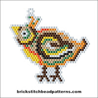 Free brick stitch seed bead earring or pendant pattern color chart