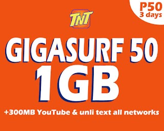 Talk N Text GIGA50 – GigaSurf 50 with 1GB of Data for 3 Days + more