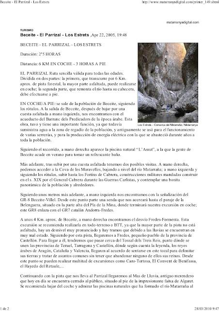 Beseit, Fortins de Cabrera, fortines de Ramón Cabrera , Beceite, excursión, estrechos, parrizal,, fuertes de Cabrera