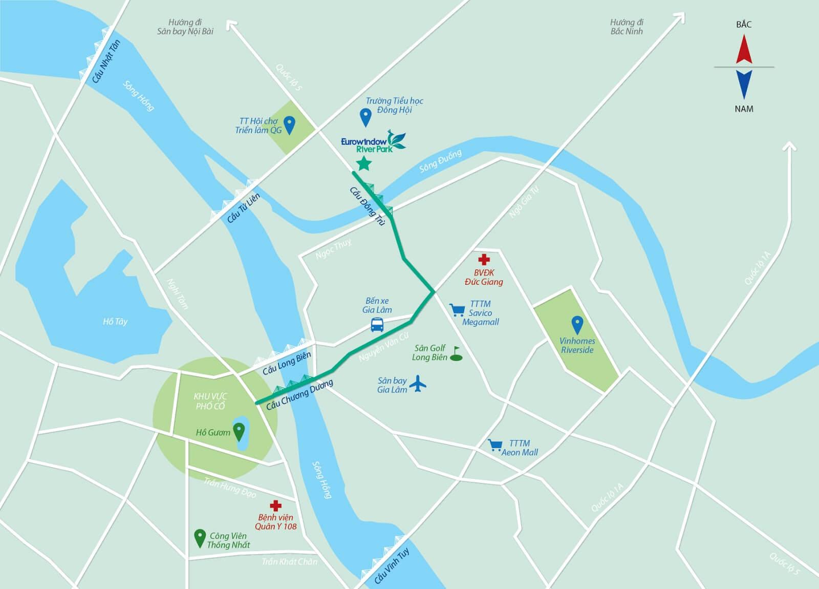 Vị trí dự án chung cư Eurowindow River Park Đông Anh Hà Nội